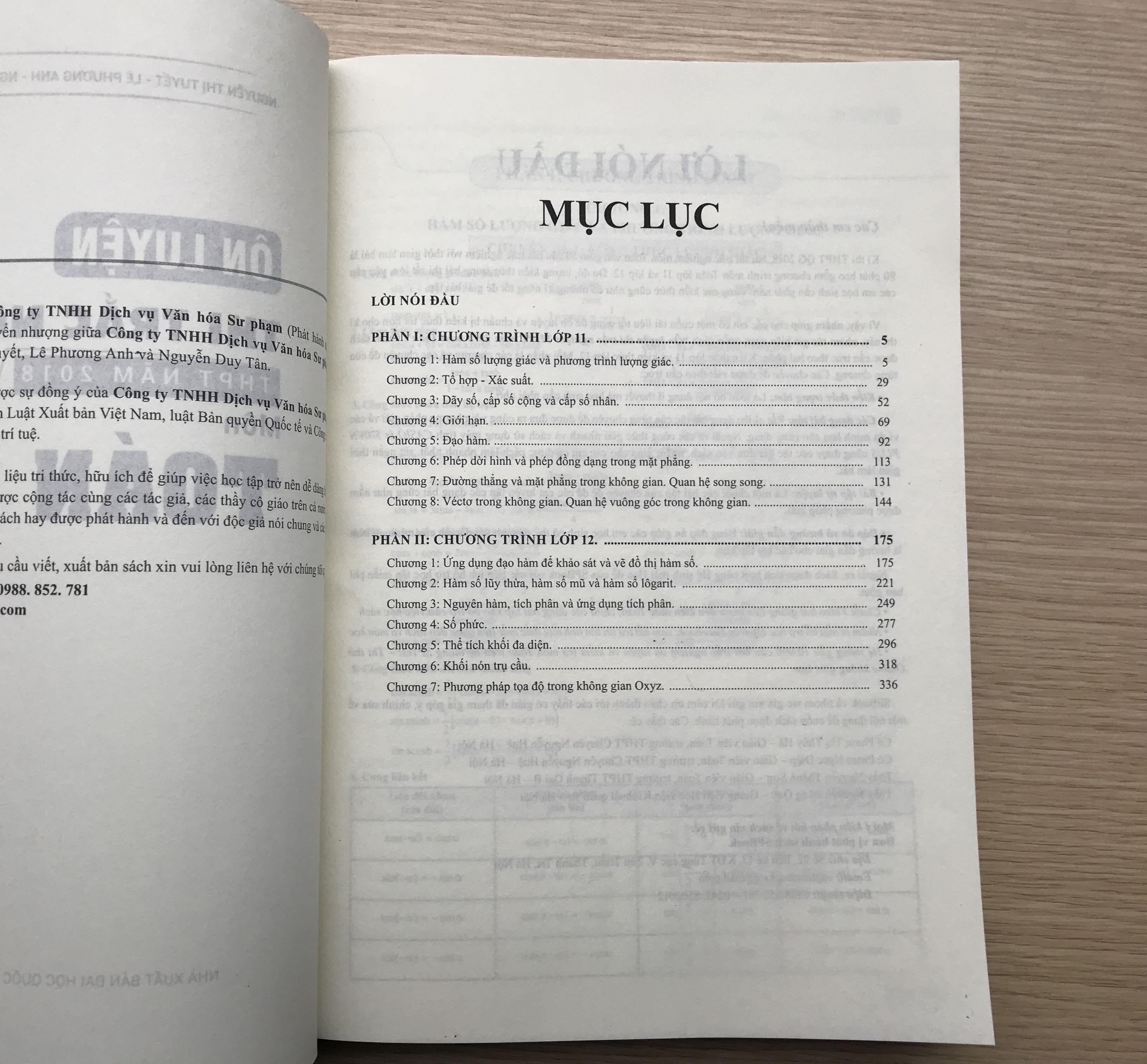 Mục lục sách ôn luyện trắc nghiệm môn toán