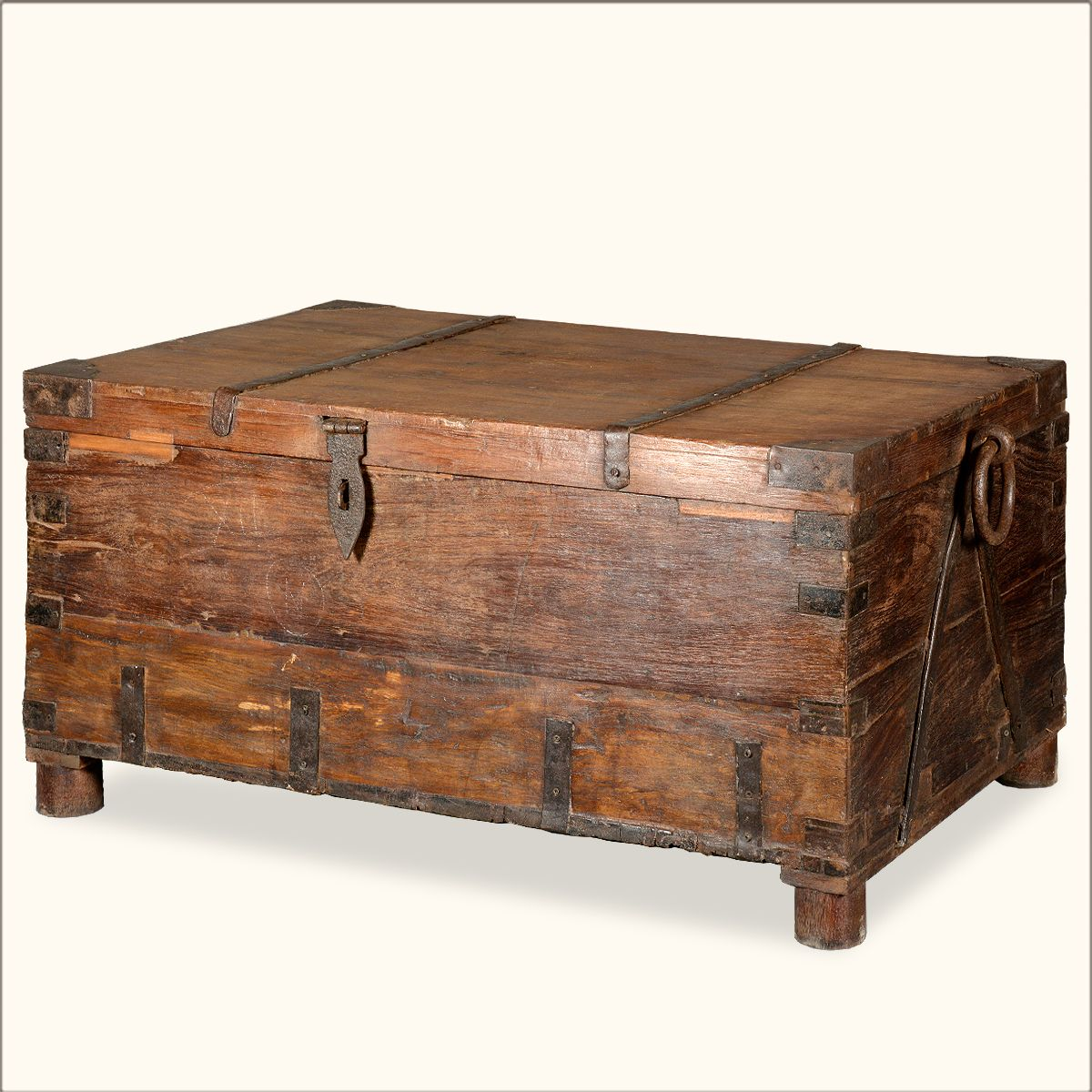 Rustic Reclaimed Wood Pirates Gothic Storage Trunk Chest