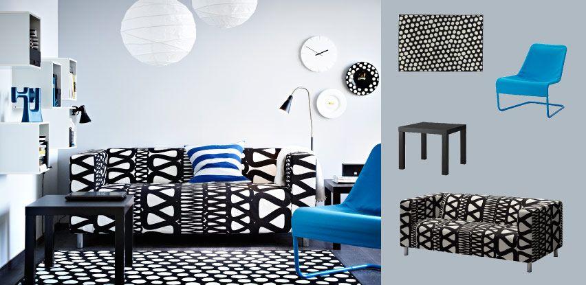 klippan canap 2 places avec housse storlien noir blanc. Black Bedroom Furniture Sets. Home Design Ideas