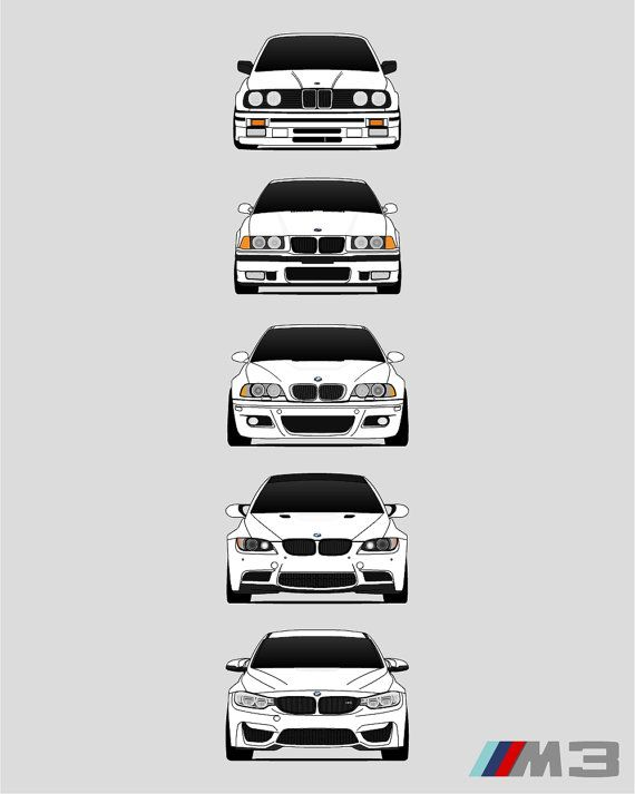 Photo of BMW M3 Poster Print Wall Art of the History and Evolution of the M3 Generations (BMW Car Models: E30, E36, E46, E92, F80) AX4