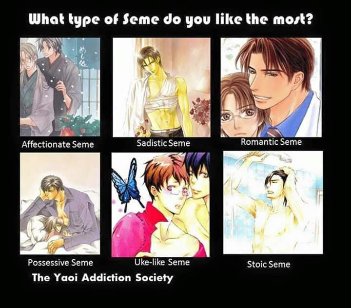 For me its a tie between the sadistic and the possessive seme