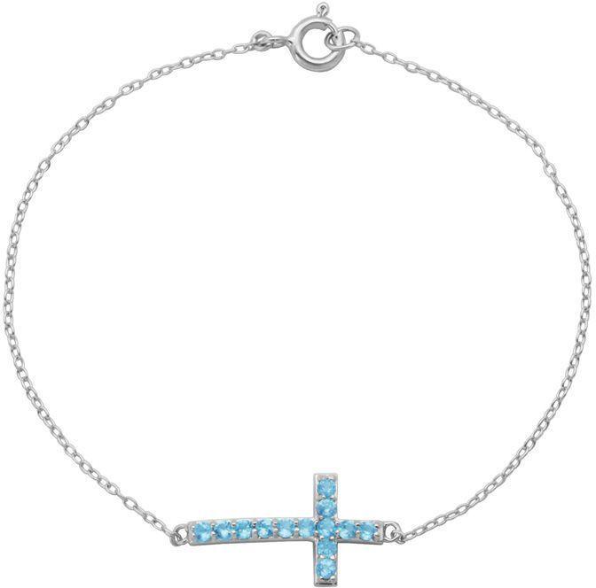Zales Swiss Blue Topaz Sideways Cross Bracelet in Sterling Silver - 7.25 w1pxPn