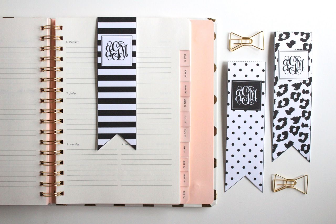 black and white bookmarks | planners & bullet journals | bookmarks