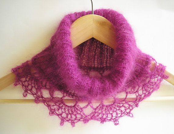 Knitted Cowl with crochet trim by CMbeatknit on Etsy, $30.00