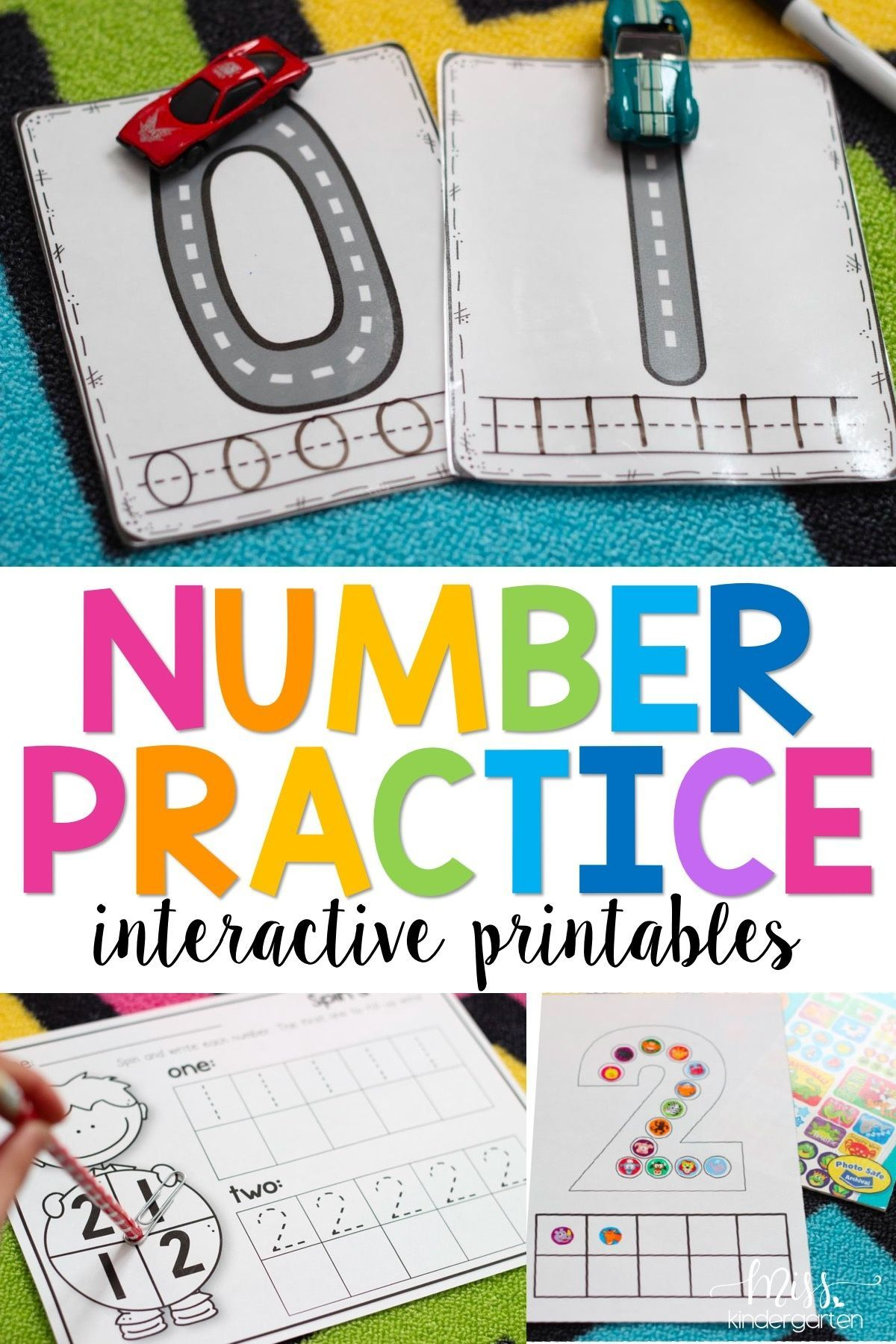 Number Practice Interactive Printables Bundle
