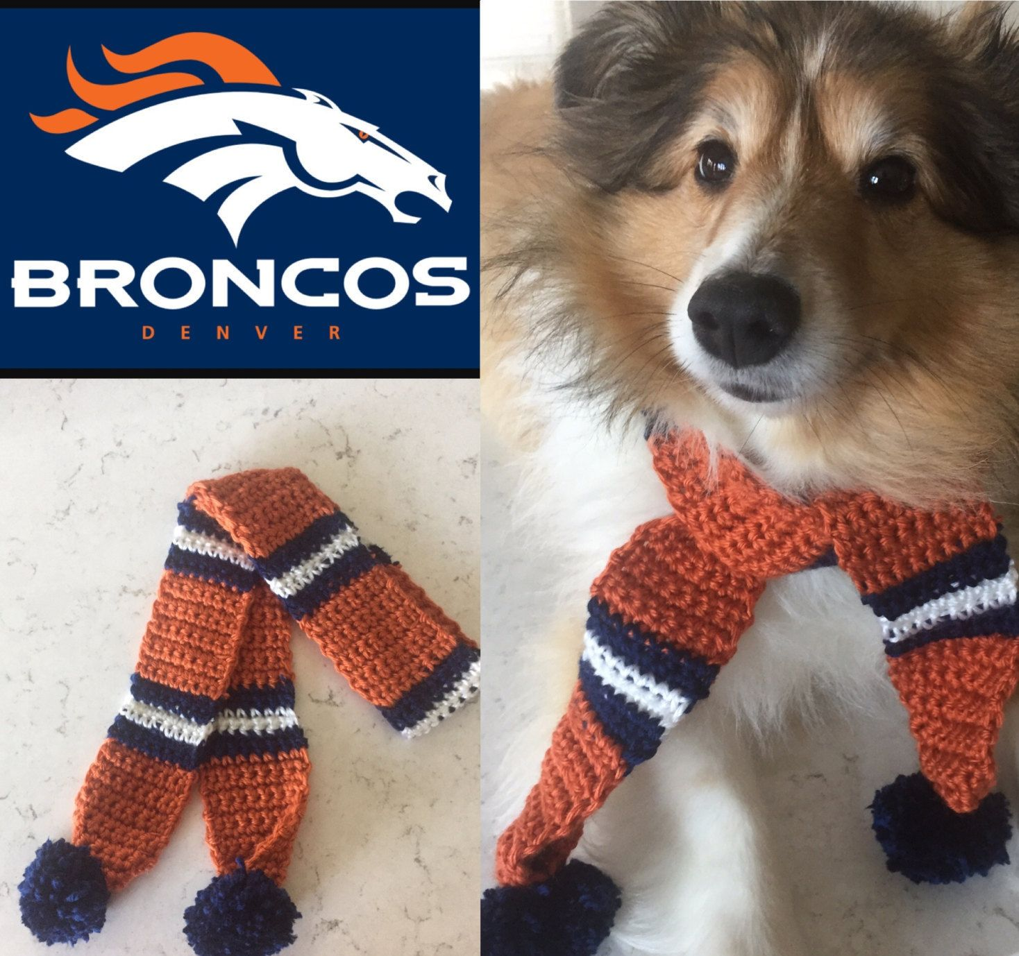 timeless design 311b4 d053a Broncos Dog Scarf, Denver Broncos Dog Scarf, Broncos, Dog ...