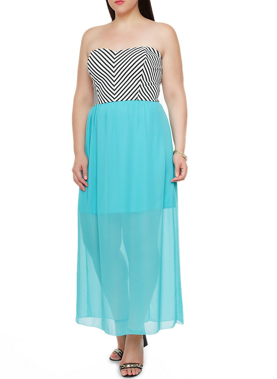 Plus Size Strapless Maxi Dress with Striped Bodice Plus