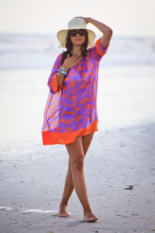 Beach cover up honeymoon cover up kimono sleeve tunic
