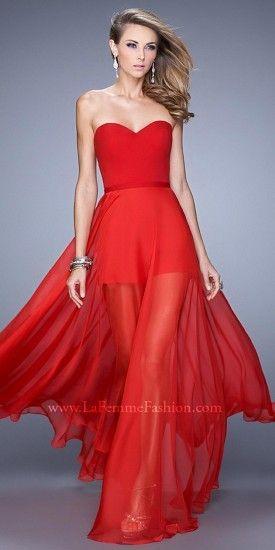 La Femme Sweetheart Chiffon Romper Prom Gown