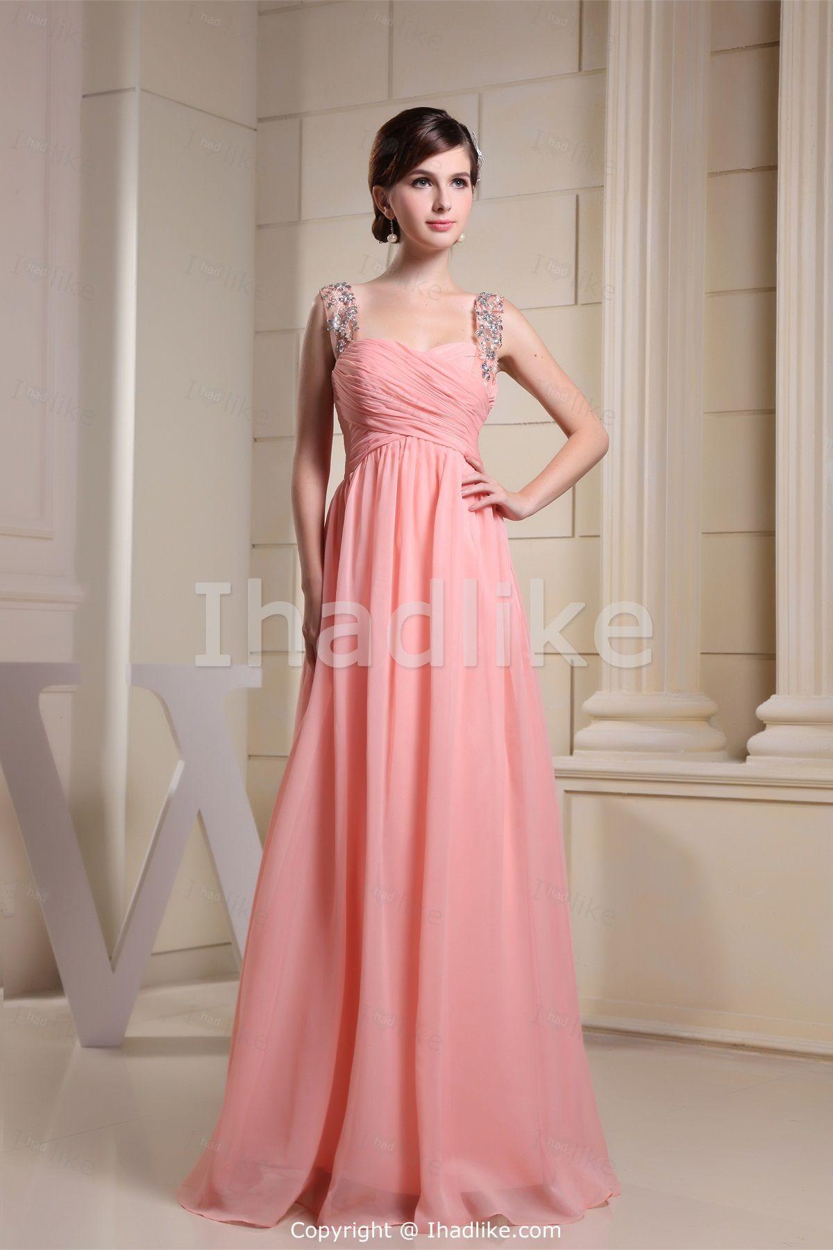 Watermelon Floor-Length Chiffon Bridesmaid Dresses -Bridesmaid ...