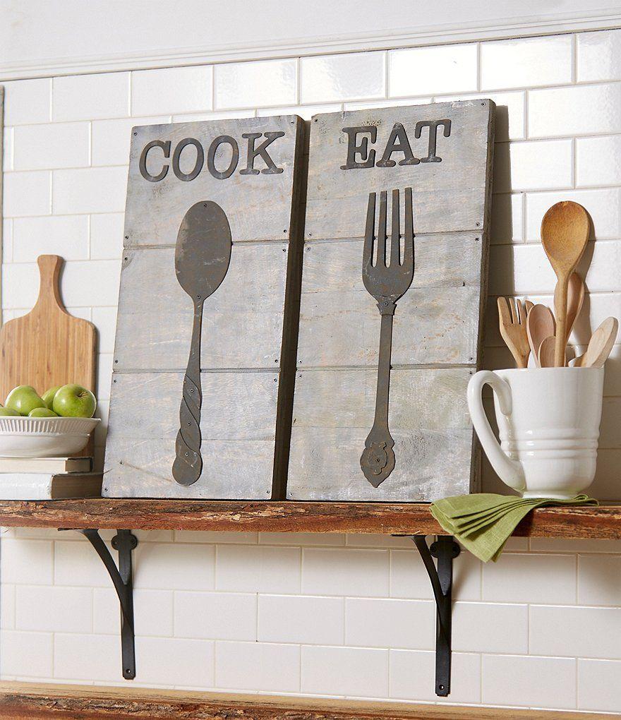 Mud pie farmhouse spoon wood u metal wall art for the kitchen
