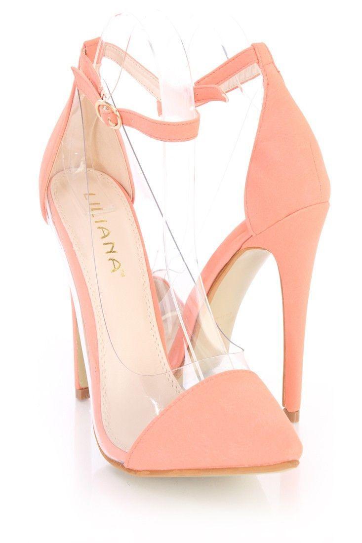 26483f977dd Liliana Coral Clear Side Pointed Toe High Heels