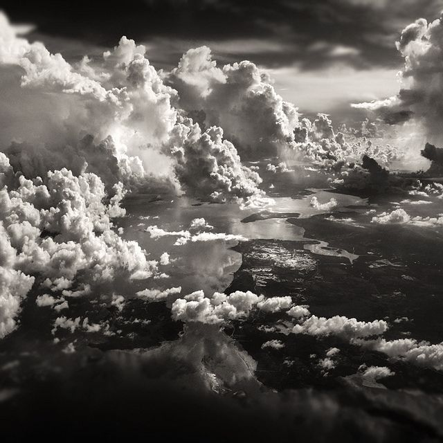 Fluffy Black And White Clouds Nature Photography Skyscape