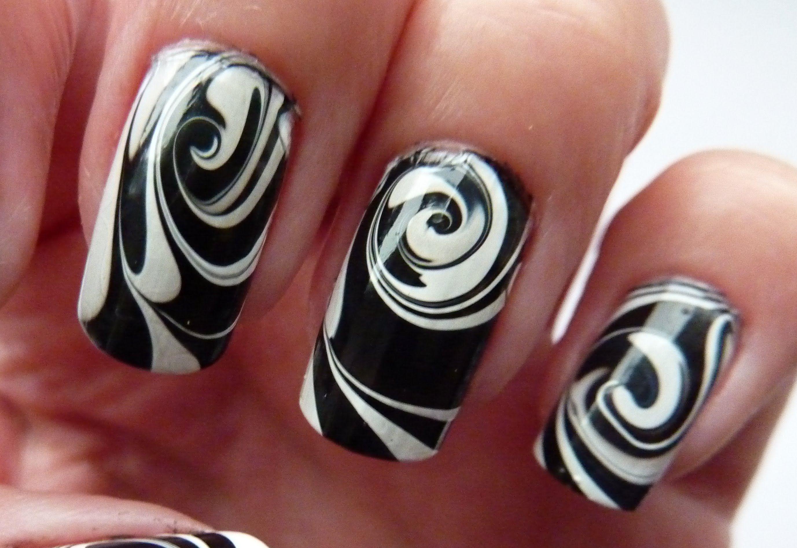 Water Marble For Short Nails, Black & White Swirl Nail Art Design ...