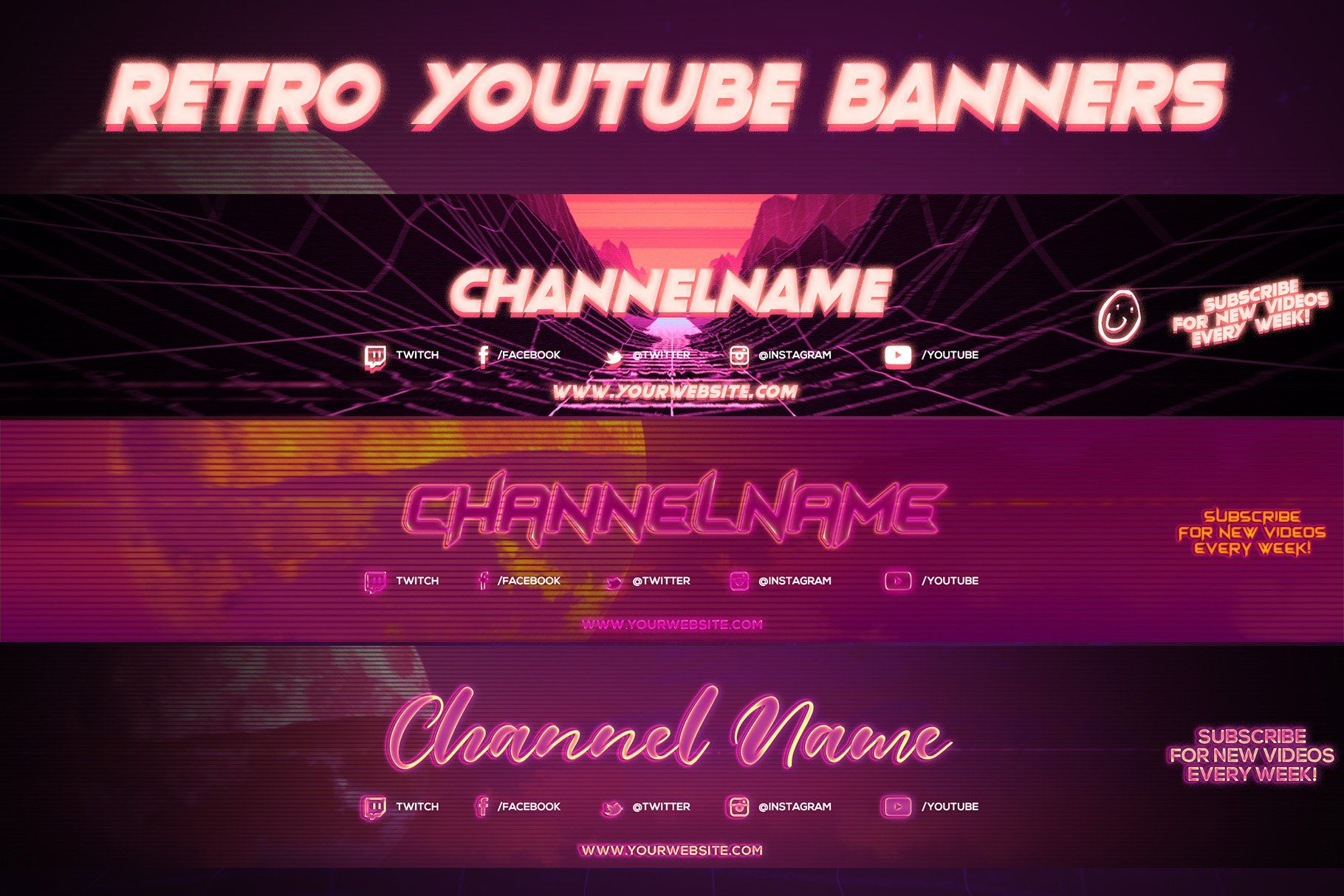 3 Retro Youtube Channel Art Banners Youtube Channel Art Youtube Banner Template Banner Template Design