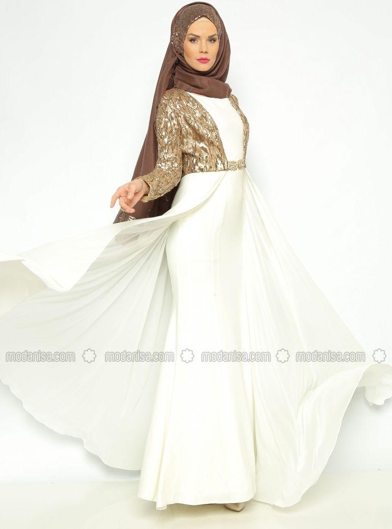 Ceketuelbise abiye takım ekru asbella abiye hijabdress