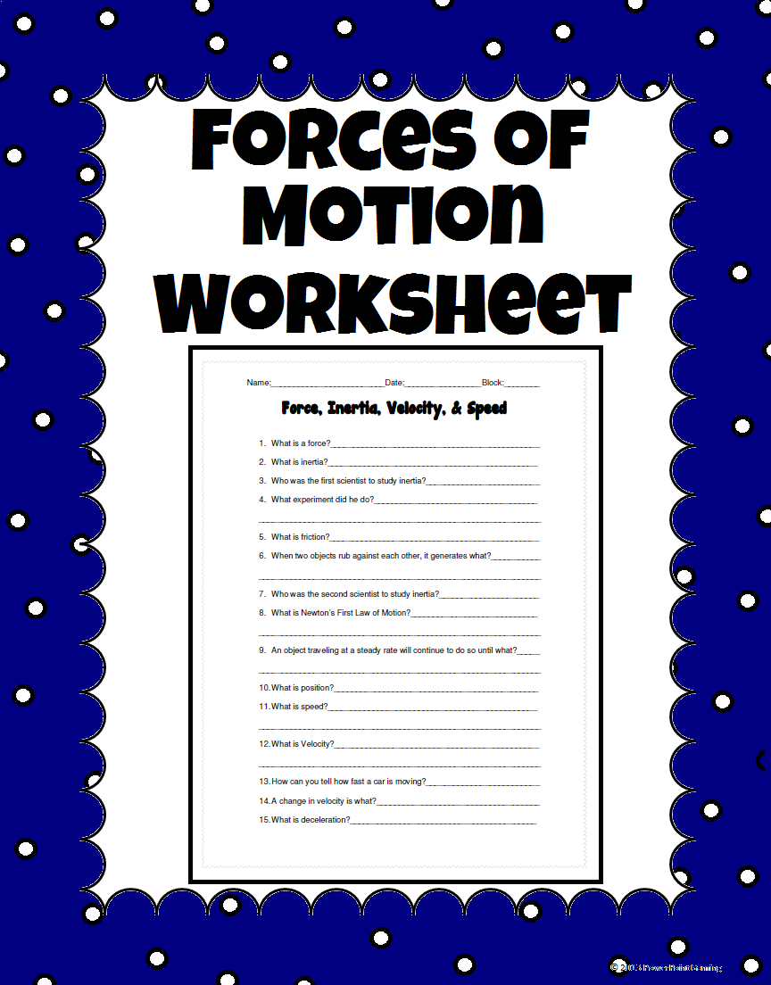 Force Inertia Velocity And Speed Science Worksheet 5th