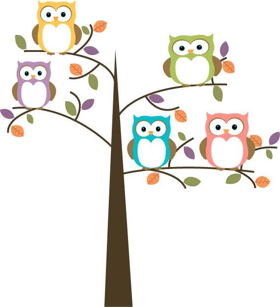 Colorful owls in pretty tree clip art image tree with skimpy