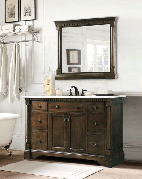 "Vanity Bathroom Canada claudia, golden elite 48"" walnut traditional bathroom vanity - the"