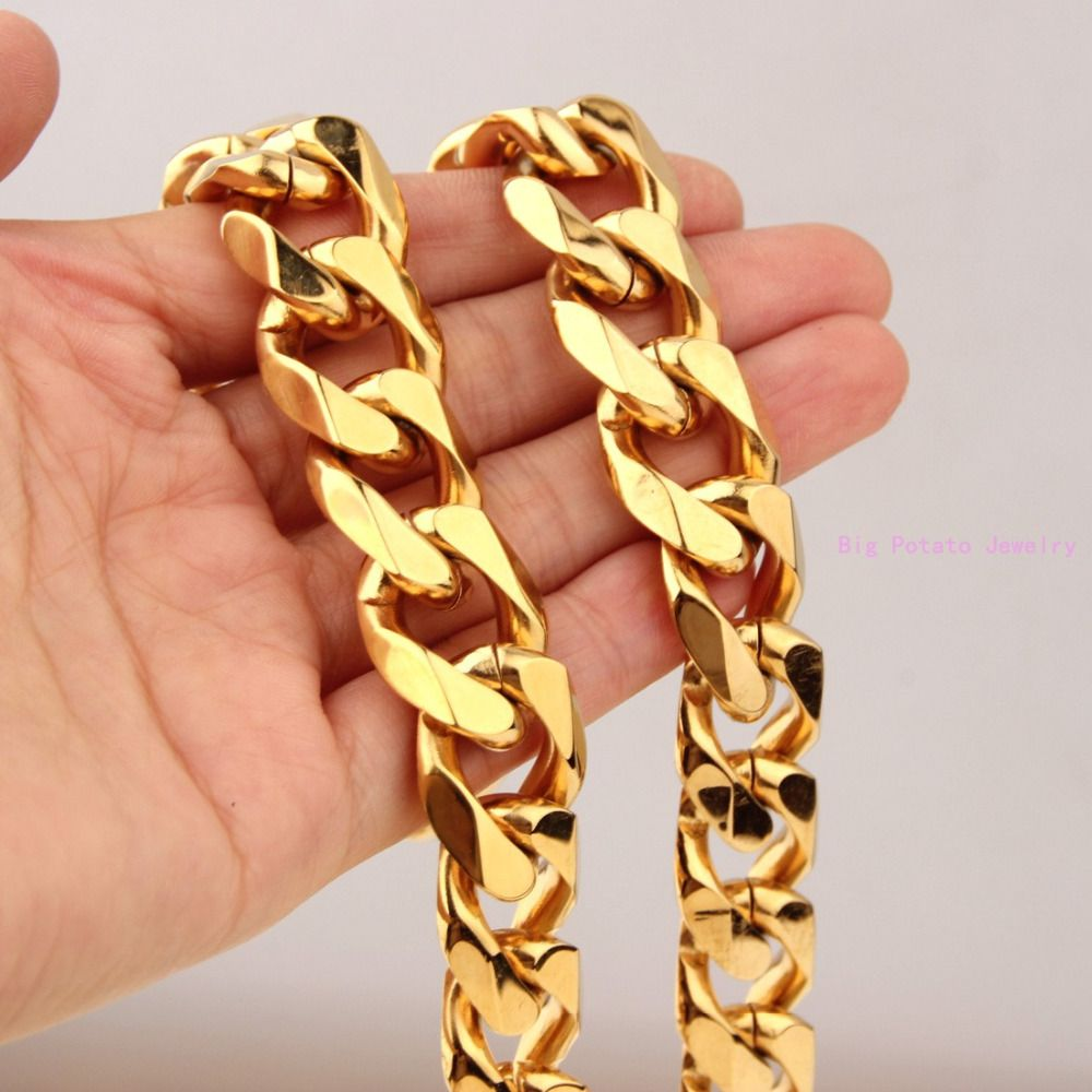 Huge heavy yellow gold tone mm stainless steel cuban curb link