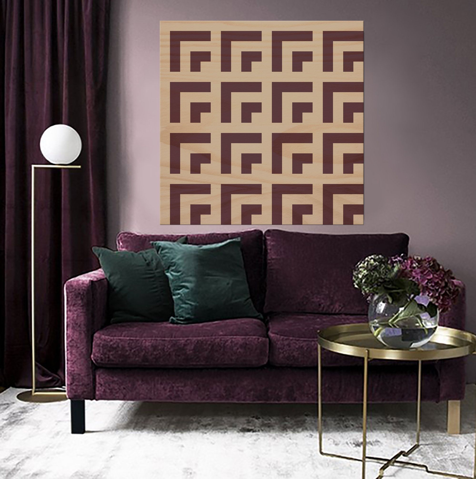 Abstract geometric wall art panel plywood wall art panel