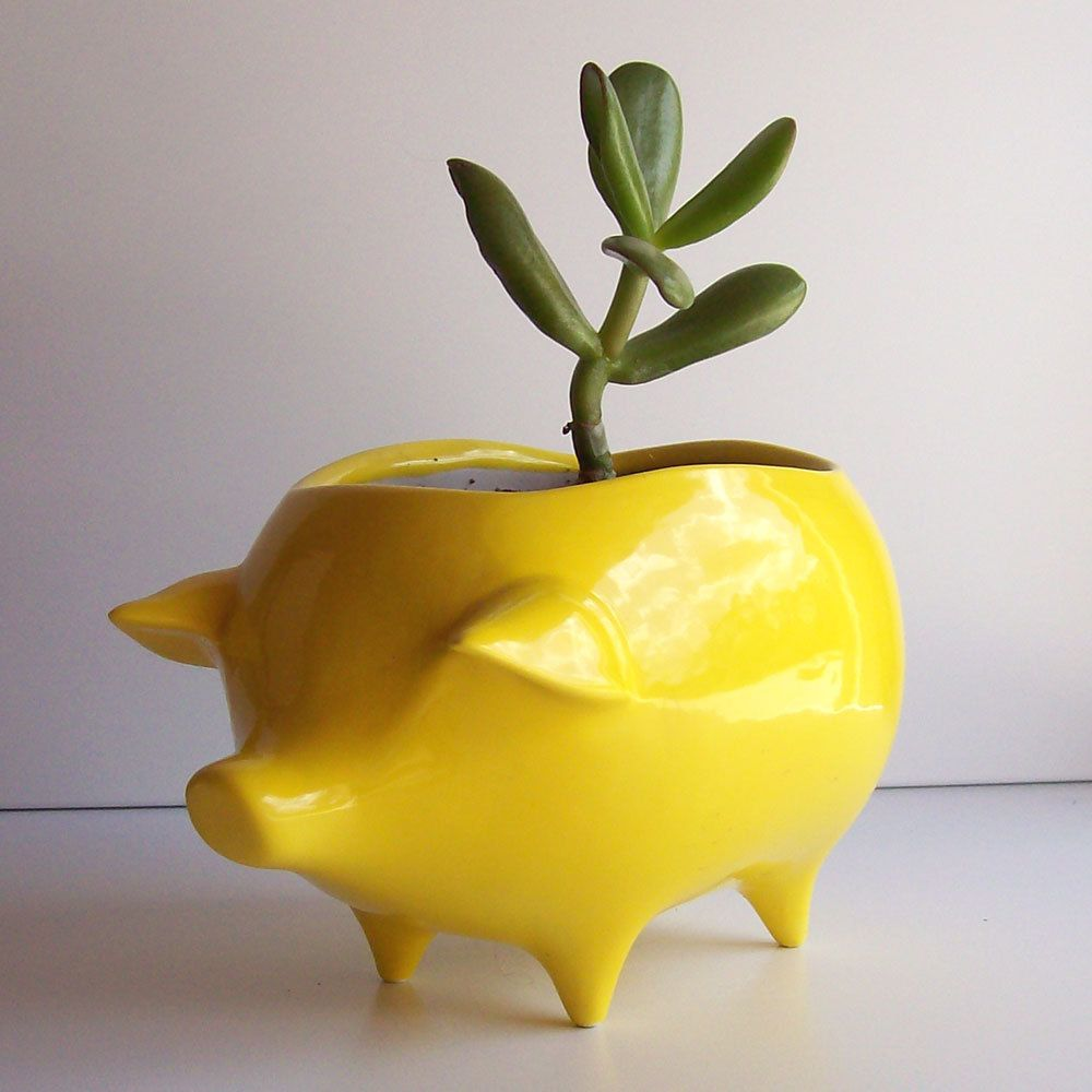 Ceramic Pig Planter Vintage Design In Lemon Yellow Succulent Planter Retro Sponge Holder Home Decor By Fruitflypie On Etsy Ceramics Planters Handmade Ceramics