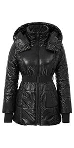 Photo of Women Quilted Winter Coat Padded Parka Hooded Jacket C …