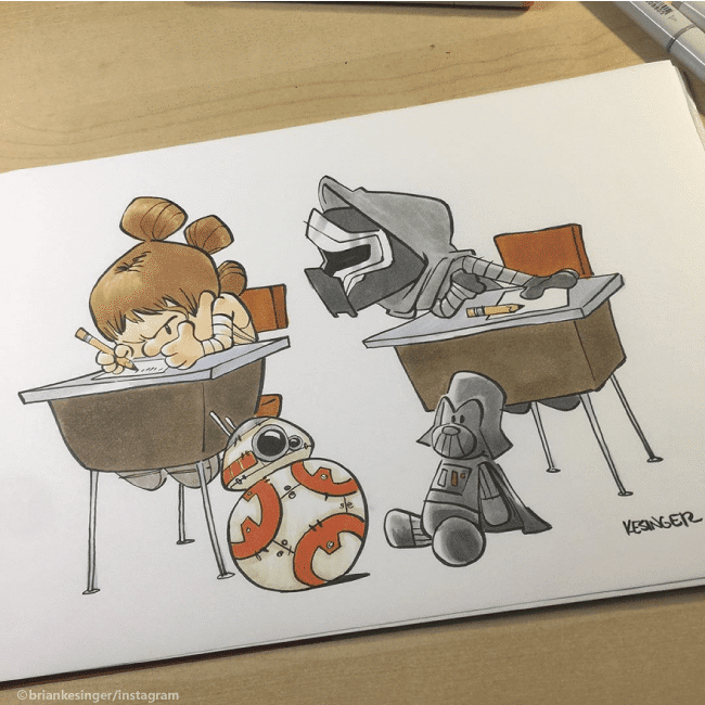 Disney Illustrators Cute Illustrations of Star Wars and Calvin and Hobbes