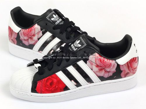 adidas superstar floral black and white