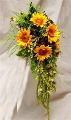 Silk Sunflowers and Blackberries from Rose  Co Flowers  uk A very rustic formal teardrop Bouquet in silk Sunflowers Blackberries lotus seed heads Amaranthus