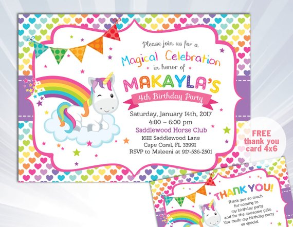 Rainbow Unicorn Invitation Birthday Party Invite G