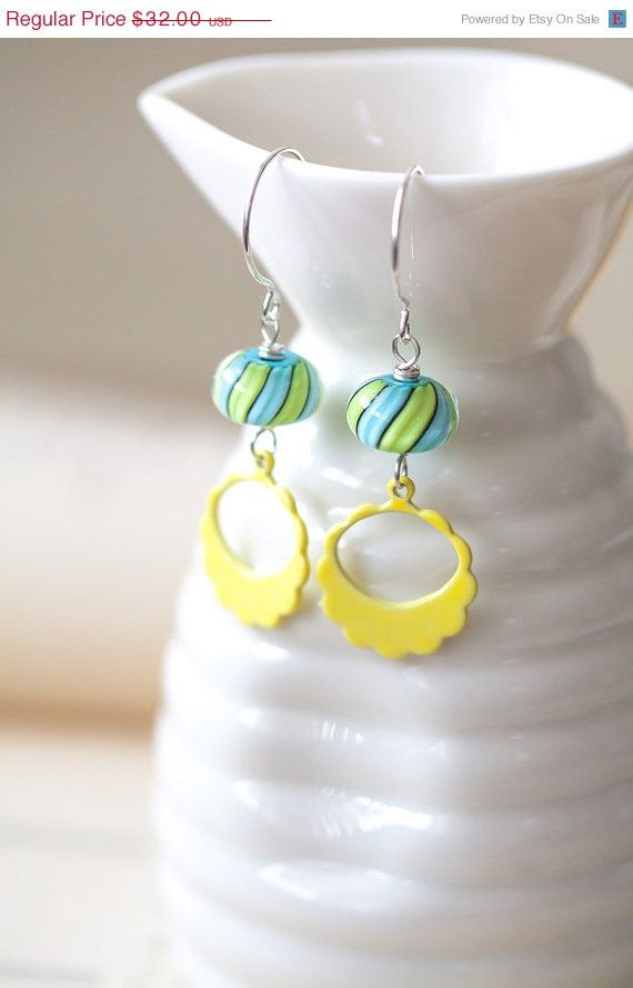 Mothers Day Sale Blue Green and Yellow Lampwork by MeMadeJewels