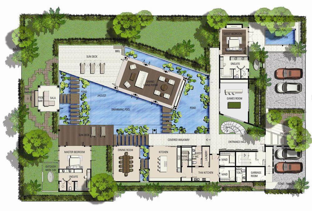 stunning villa plan. Based on the concept of Standard Beach Villa  this variation offers and alternative layout House PlansLuxury