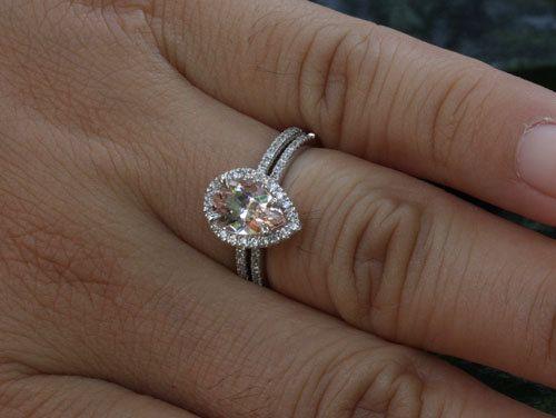 pear morganite engagement ring morganite wedding ring set in 14k white gold with morganite 9x6mm and diamond bridal ring set - Morganite Wedding Ring Set