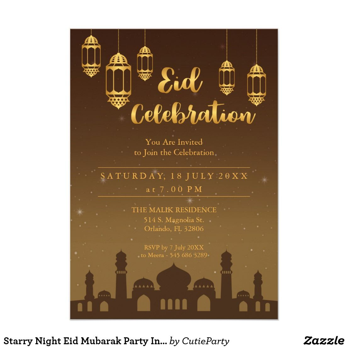 Starry Night Eid Mubarak Party Invitation Zazzle Com Eid
