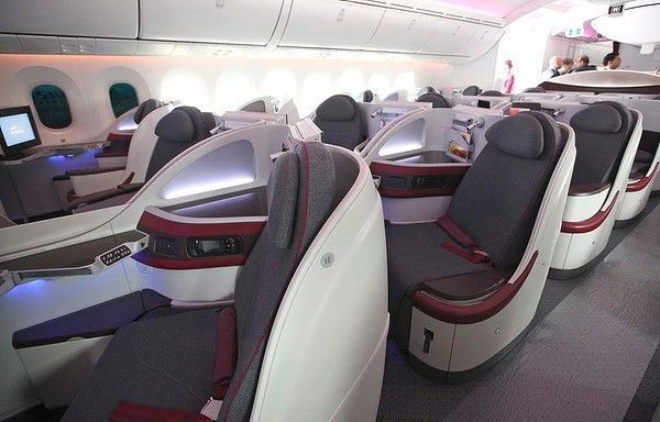 The interior of a Qatar Airways business class cabin on board the