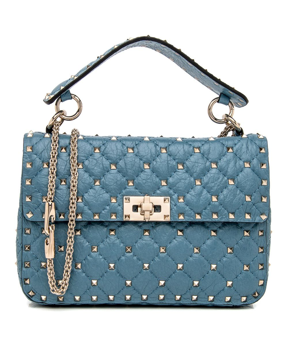 ea99bcb892e07f Valentino Garavani Blue Rockstud Spike Chain Bag Flap front with turn lock  closure Soft lambskin leather