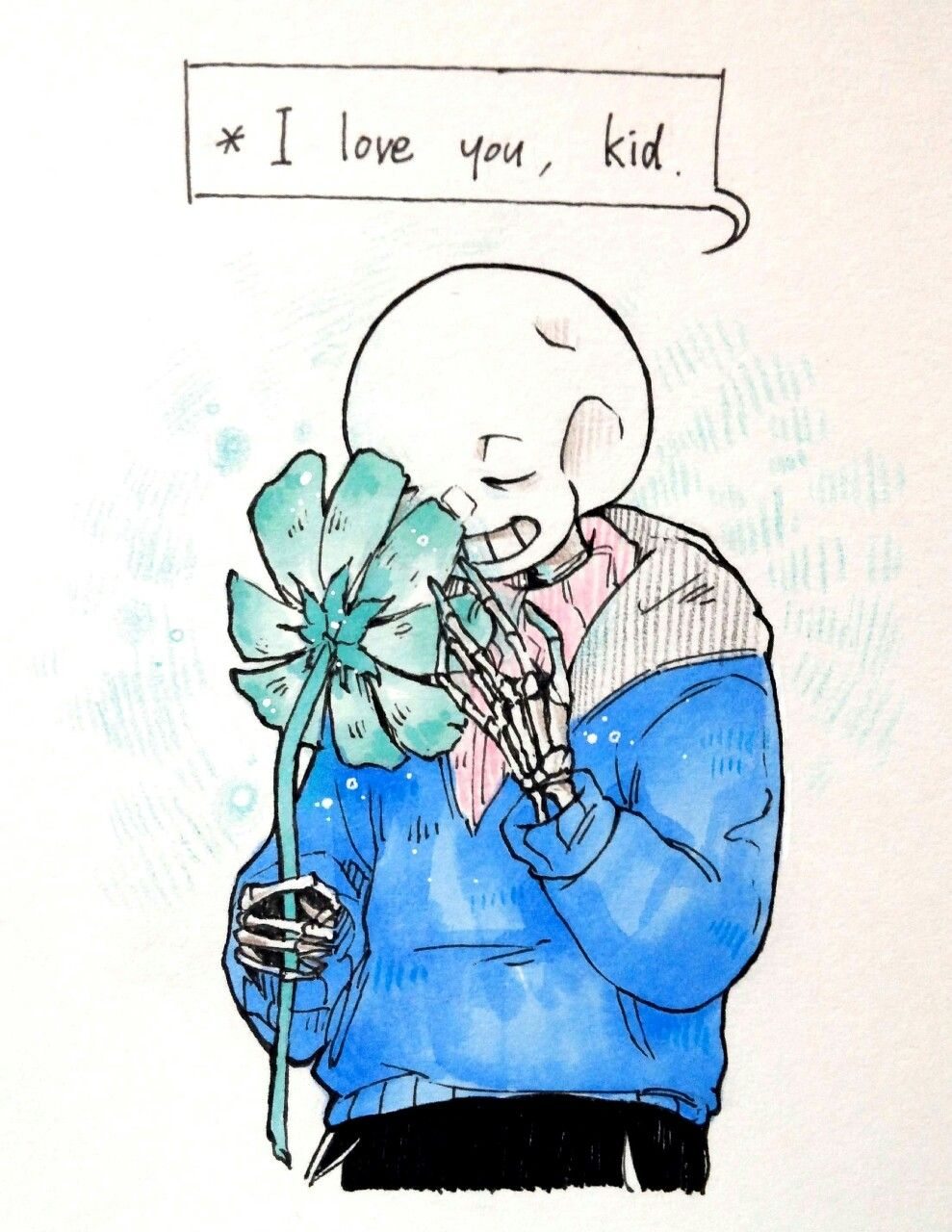 Sans and Echo Flower to Frisk