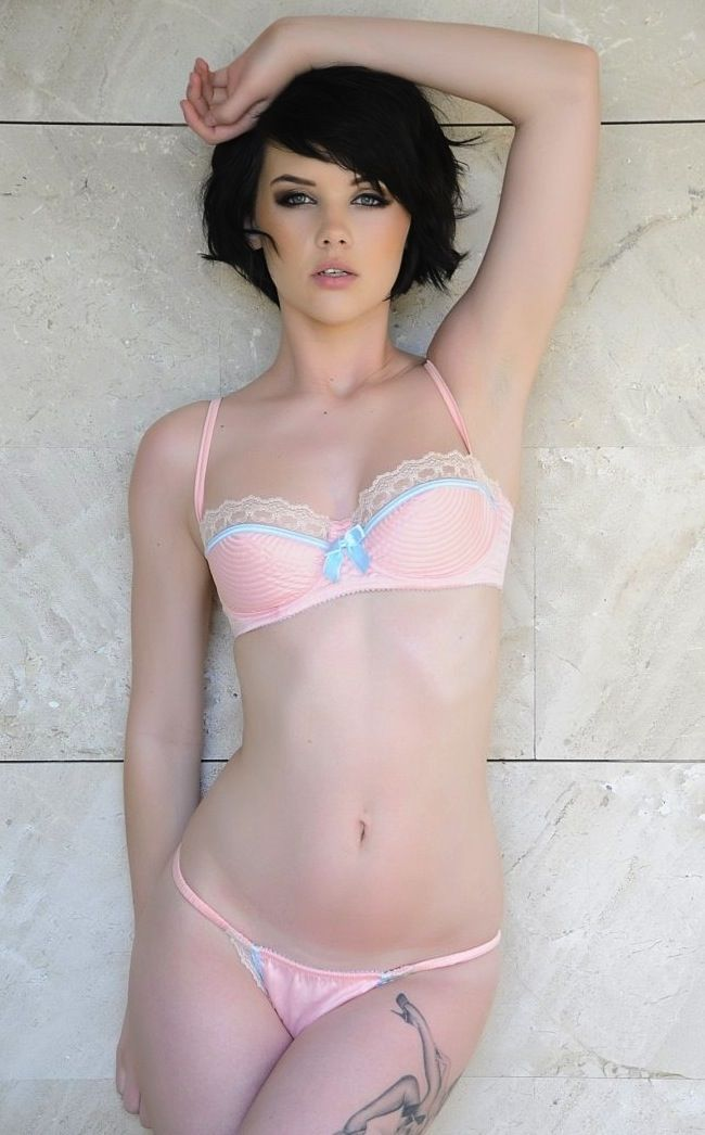 brunette Short lingerie hair