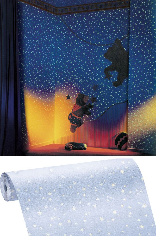 Kinderzimmer sternenhimmel  Papiertapete 77308 Kunterbunt leuchtende Sterne weiß ...