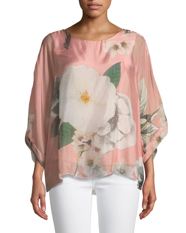 b693ac75962ae1 MODA SETA FLORAL-CHIFFON PONCHO BLOUSE. #modaseta #cloth ...
