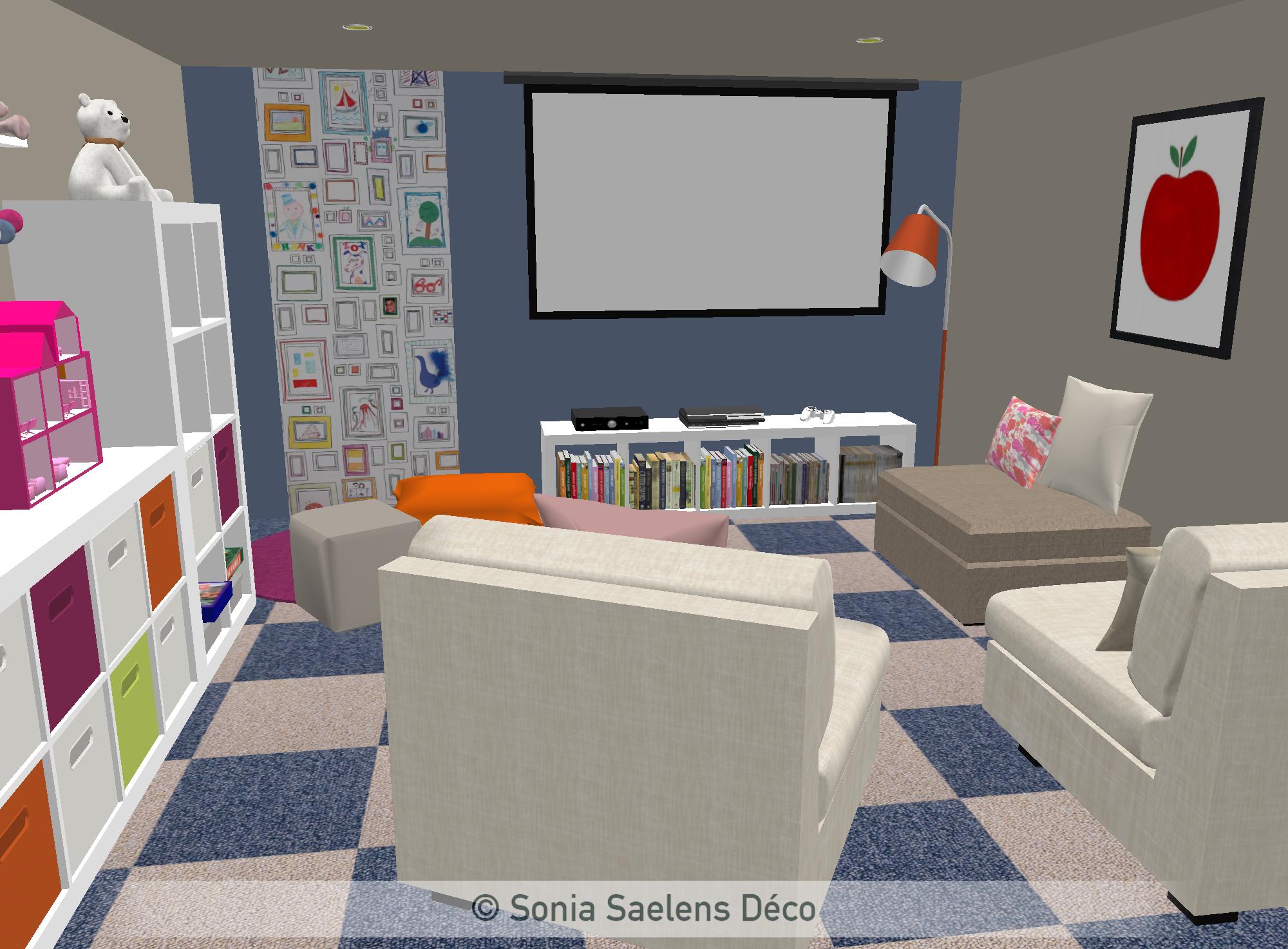 un sous-sol am�nag� en salle de jeux - projection 3d in 2019