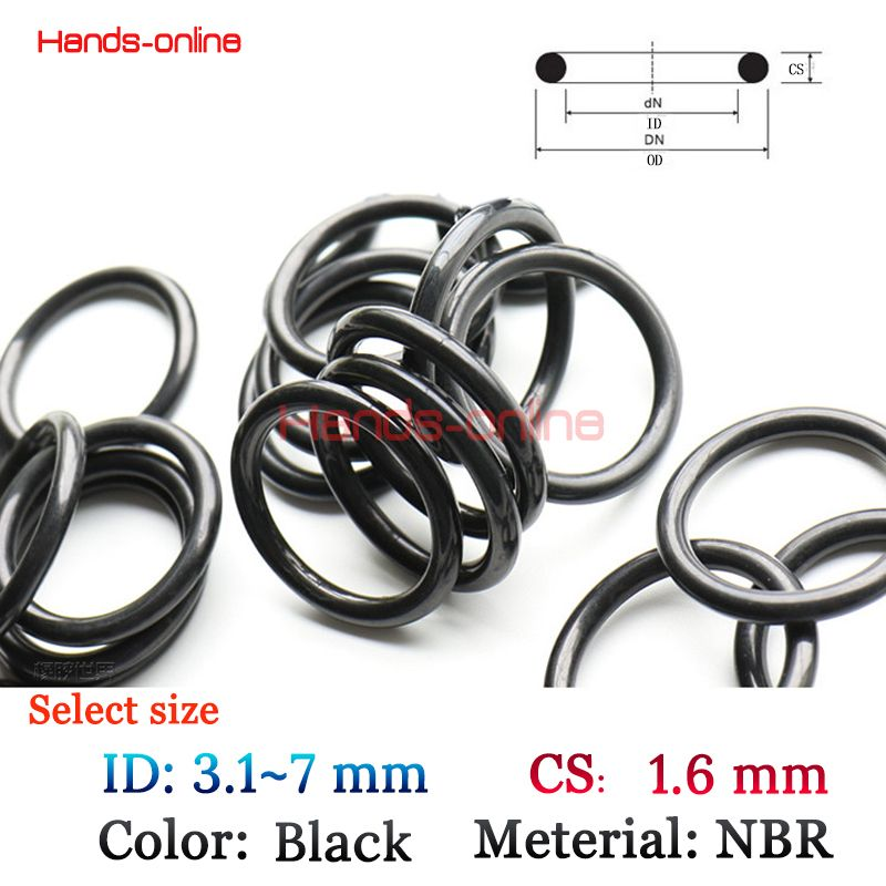 10x Cs 1 6mm Id 3 1 3 2 3 55 4 4 8 5 1 5 5 5 8 6 3 7mm X 1 6 Mm Nitrile Rubber O Type Sealing Ring Gasket Grommets Black Nbr Nitrile Rubber O Ring