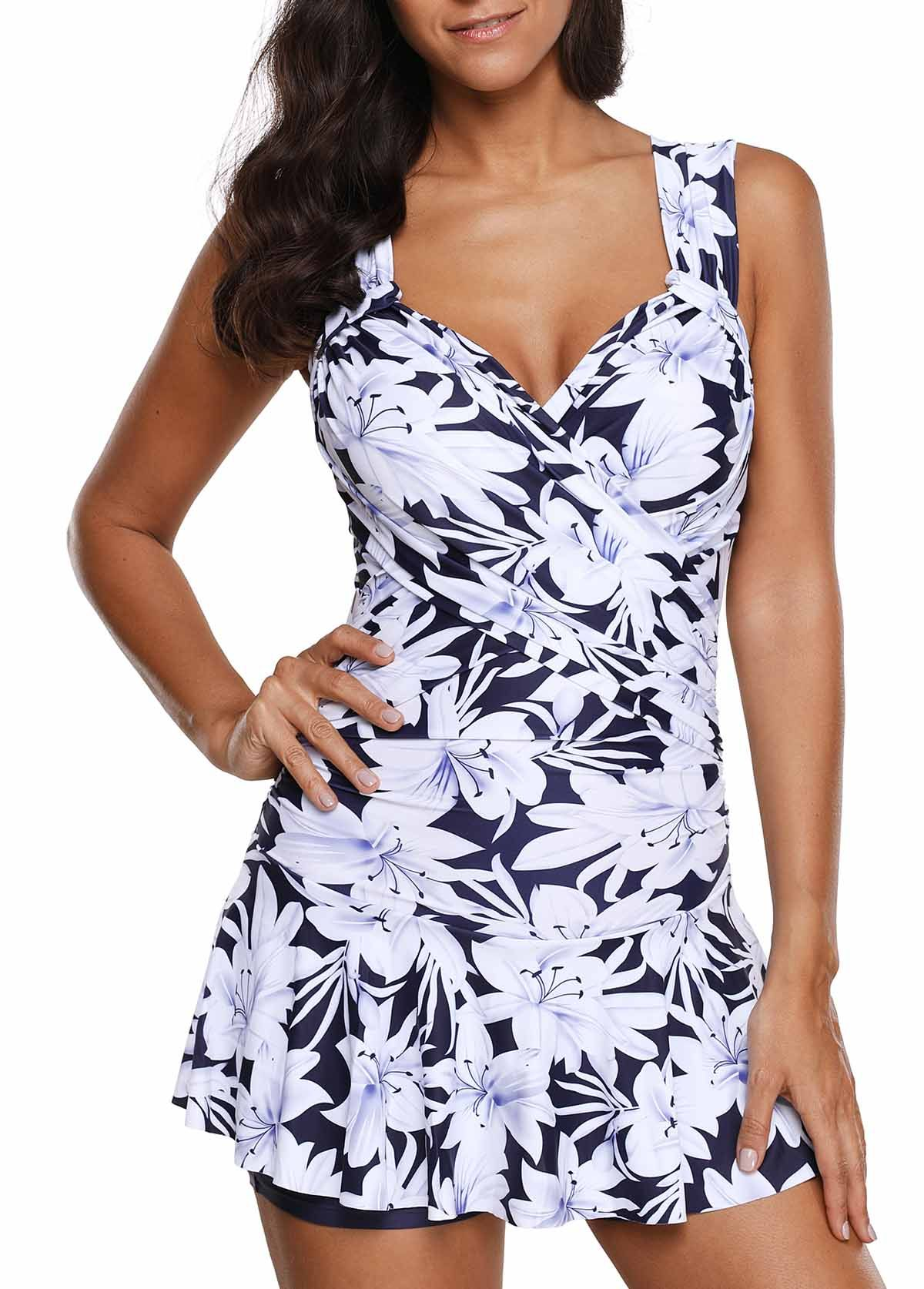 18c9ac21184ab Ruched Flower Print Wide Strap One Piece Swimdress #Print, #Flower, #Ruched