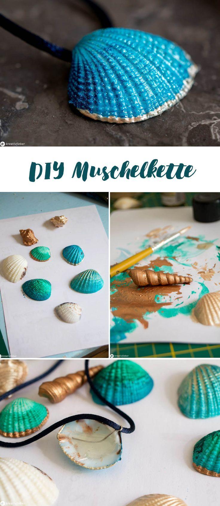 DIY Muschelkette selbermachen - Meerjungfrau Party #diyschmuck #urlaubserinnerung #mermaid #meerjungfrau