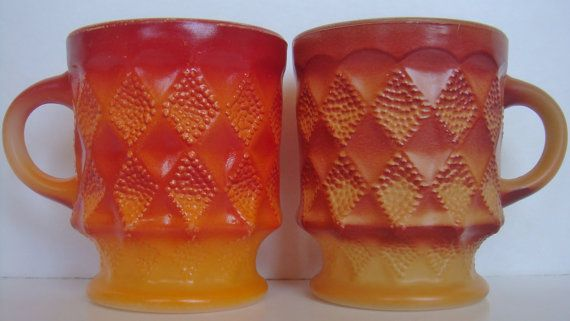 Vintage Set of Two Anchor Hocking Fire King Kimberly Pattern Shades of Orange And Red Mugs on Etsy, $10.00 CAD