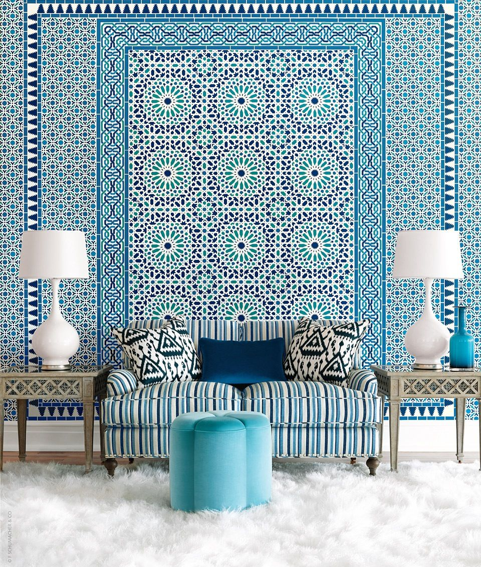 An optical illusion like byzantium inspired living room design by schumacher