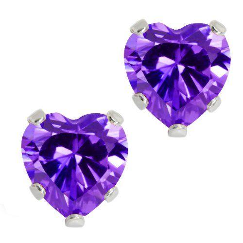 3 00 Ct 925 Sterling Silver Purple Amethyst Cz Heart Shape Stud Earrings 6mm 9 99 Bester