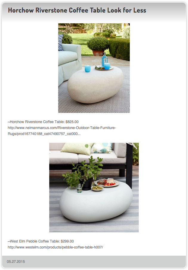 Horchow Riverstone Coffee Table Vs West Elm Pebble Coffee - West elm pebble coffee table