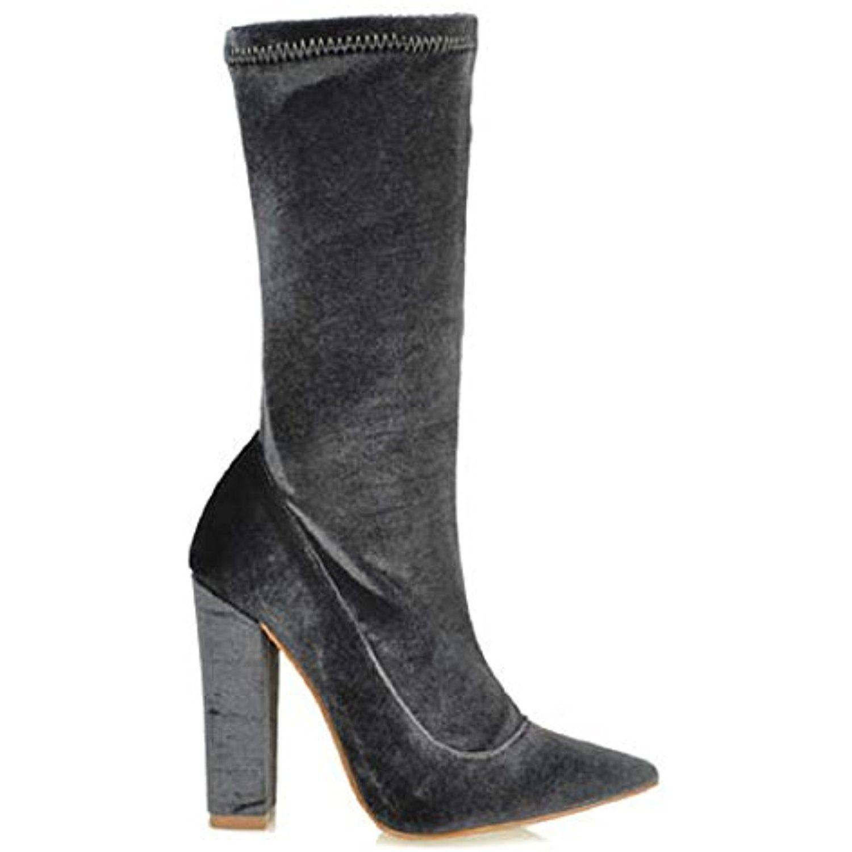 CherryMad Velvet Stretchy Zayn Pointy Toe Ankle High Round Block Heel Boot Bootie